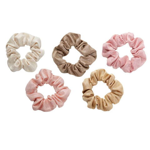 Kitsch Metallic Scrunchies in Blush + Mauve