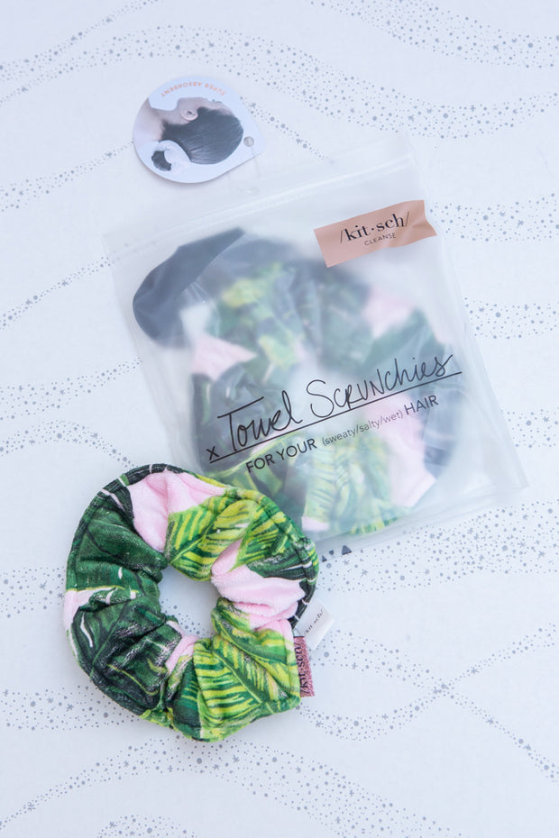 Kitsch Microfiber Towel Scrunchies in Palm