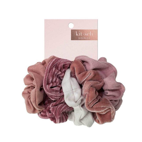 Kitsch Velvet Scrunchies in Blush + Mauve