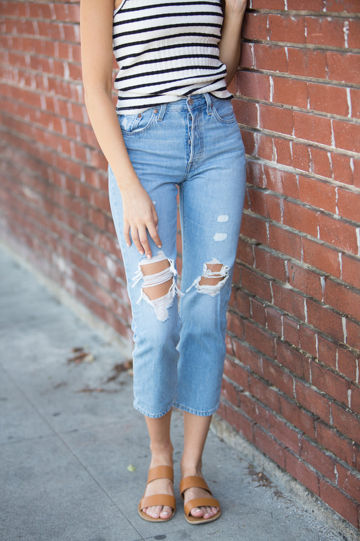 Levi's 501 Crop in Montgomery Patched