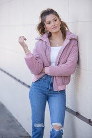 Lost in Lunar Cleo Cord Bomber Jacket in Pink