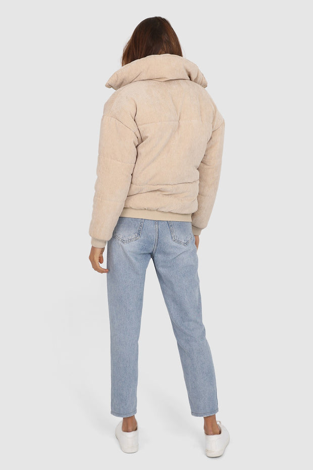 Lost in Lunar Cleo Cord Bomber Jacket in Tan