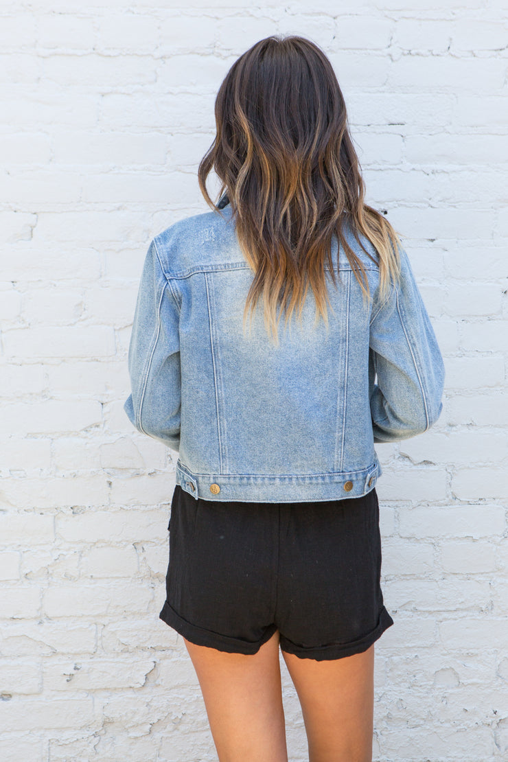 MinkPink Andy Crop Denim Jacket