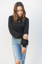 MinkPink Blouson Top in Black
