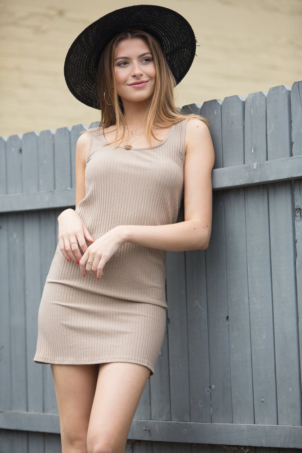 NYTT Scoop Neck Mini Dress in Toffee