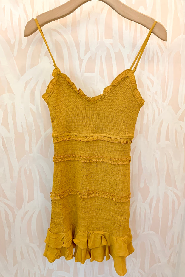 Olivaceous Blakeley Dress in Mustard