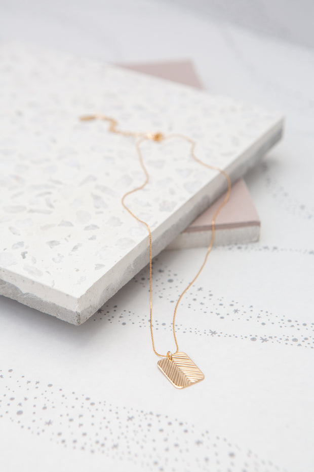 Paradigm Feather Rectangle Necklace