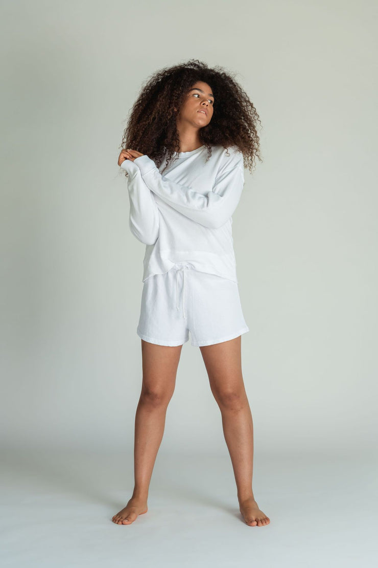 Perfect White Tee Layla Sweat Shorts in White