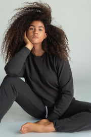 Perfect White Tee Tyler Pullover in Vintage Black