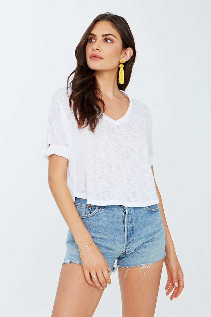 Project Social T Fenton Knot Sleeve Tee in White