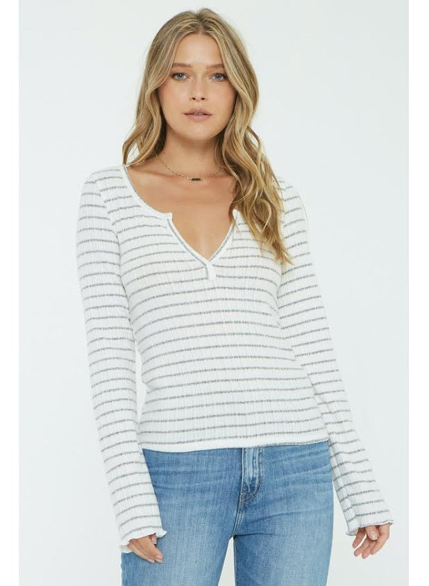 Project Social T Sage Stripe Cozy Henley