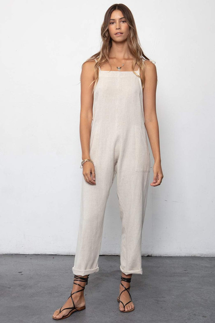 Stillwater Some Beachy Overalls in Natural Linen