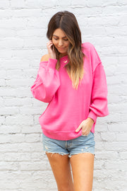 Summit + Peak Beachcomber Sweater in Hot Pink