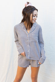 Summit + Peak Lydie Gingham PJ Set In Black