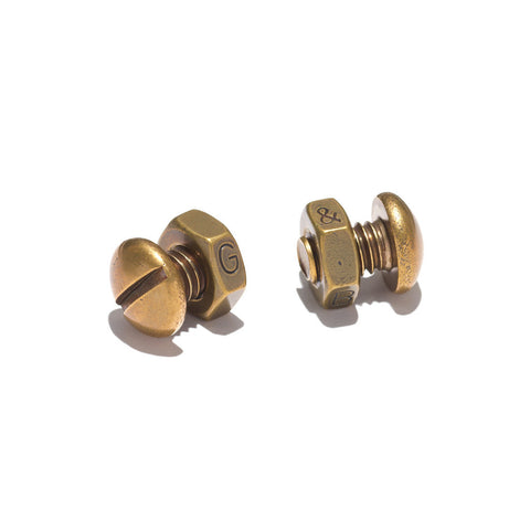 Nut & Bolt Cufflinks - Brass