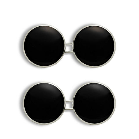 ONYX & White GOLD DISC CUFFLINKS