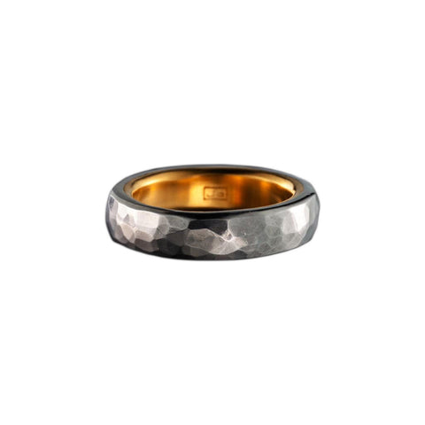 STAINLESS STEEL NARROW RING WITH 24K GOLD LINING