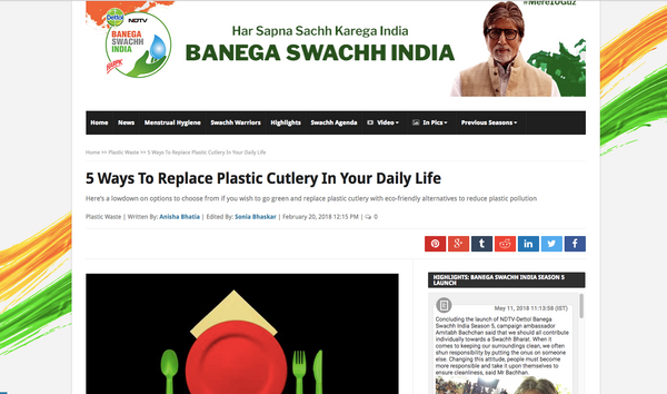 Pappco Greenware - Swachh India NDTV