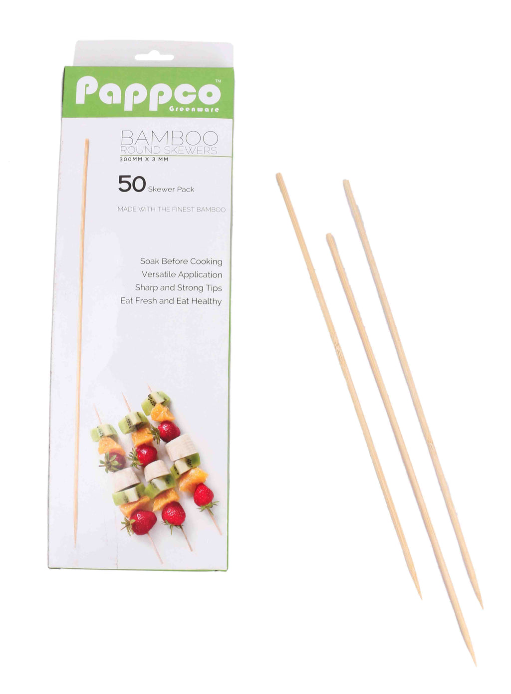 Pappco Greenware 12 Inch Bamboo Round Skewer (Pack of 200)