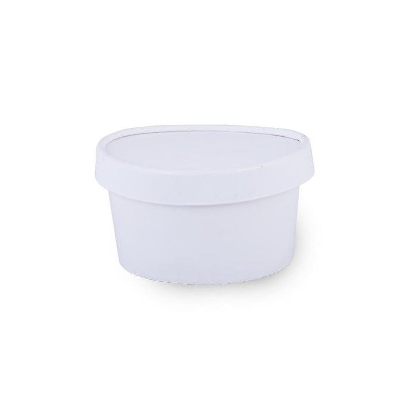 360ml White Paper Tub Food Takeaway Container With Lid