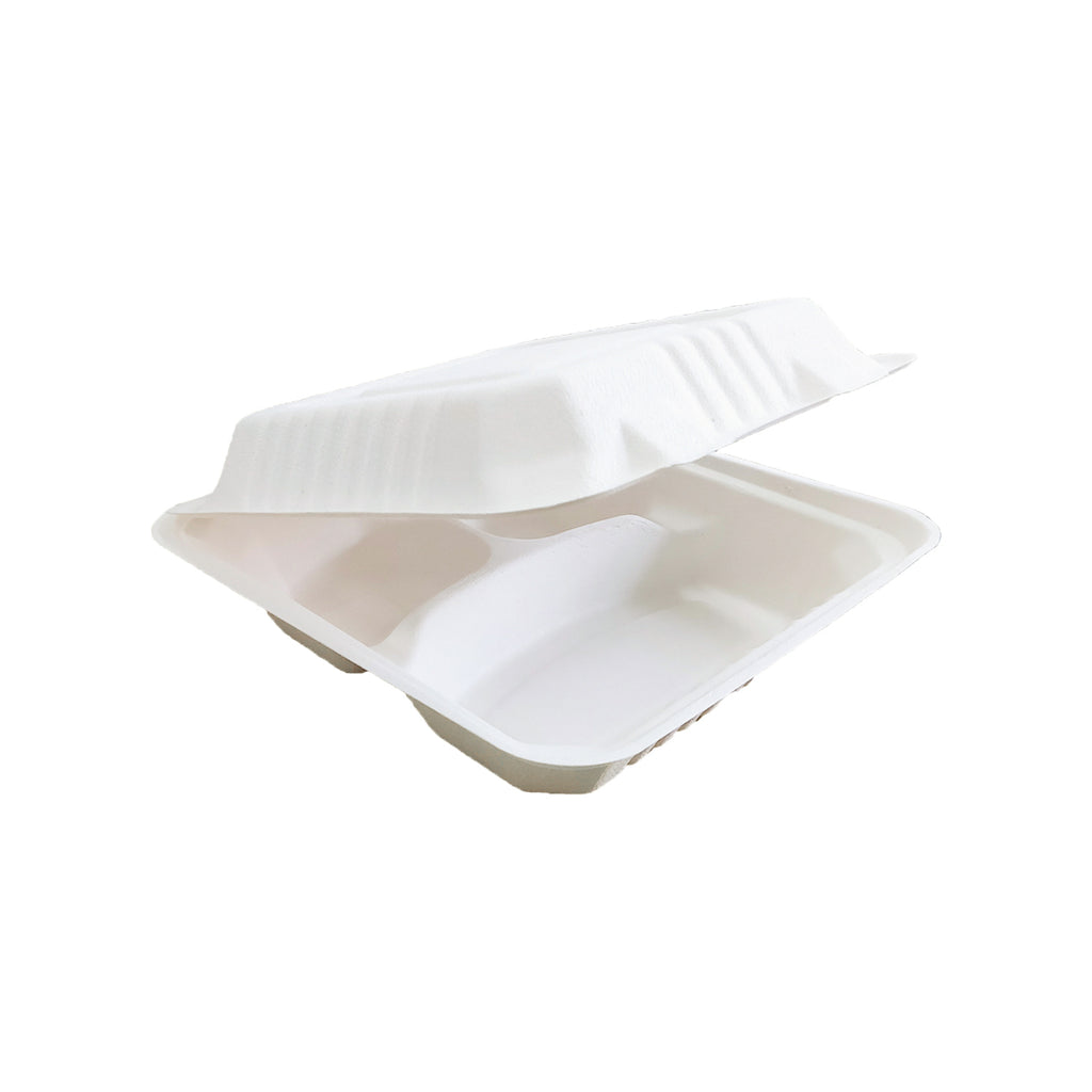 3 Compartment Clamshell Container for fast food packaging, Takeaway & Delivery