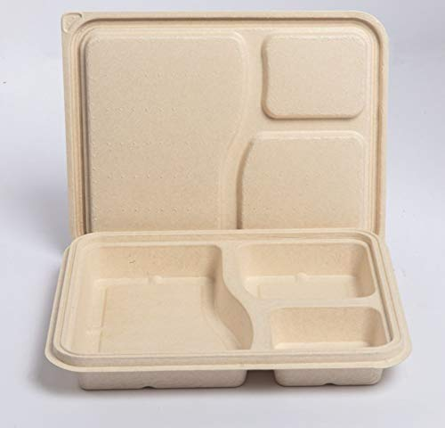 Disposable 3 compartment lunch box with lid made up of biodegradable sugarcane bagasse