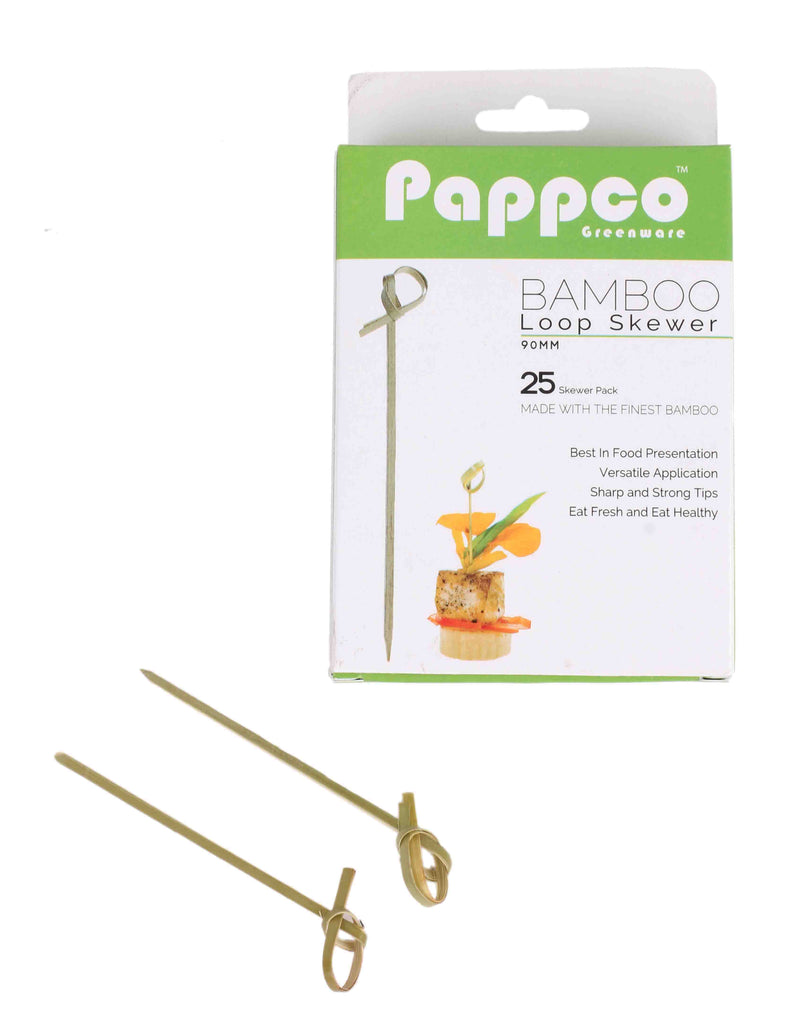 Pappco Greenware 4 inch Bamboo Loop Skewer (Pack of 200)