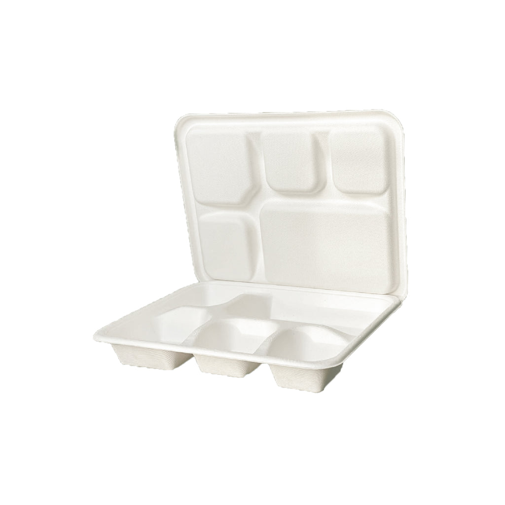 Disposable five compartment lunch box with lid