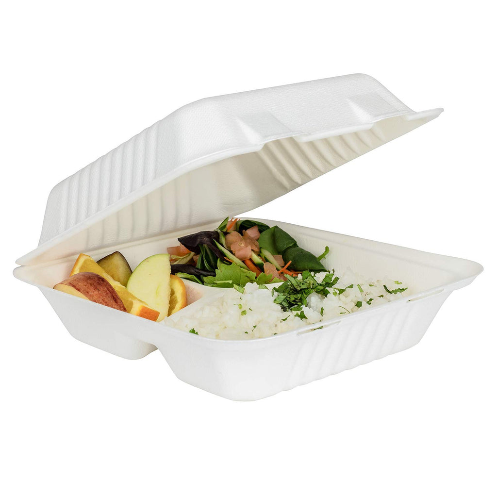 3 compartment takeaway container for pasta, salads & other takeaway items