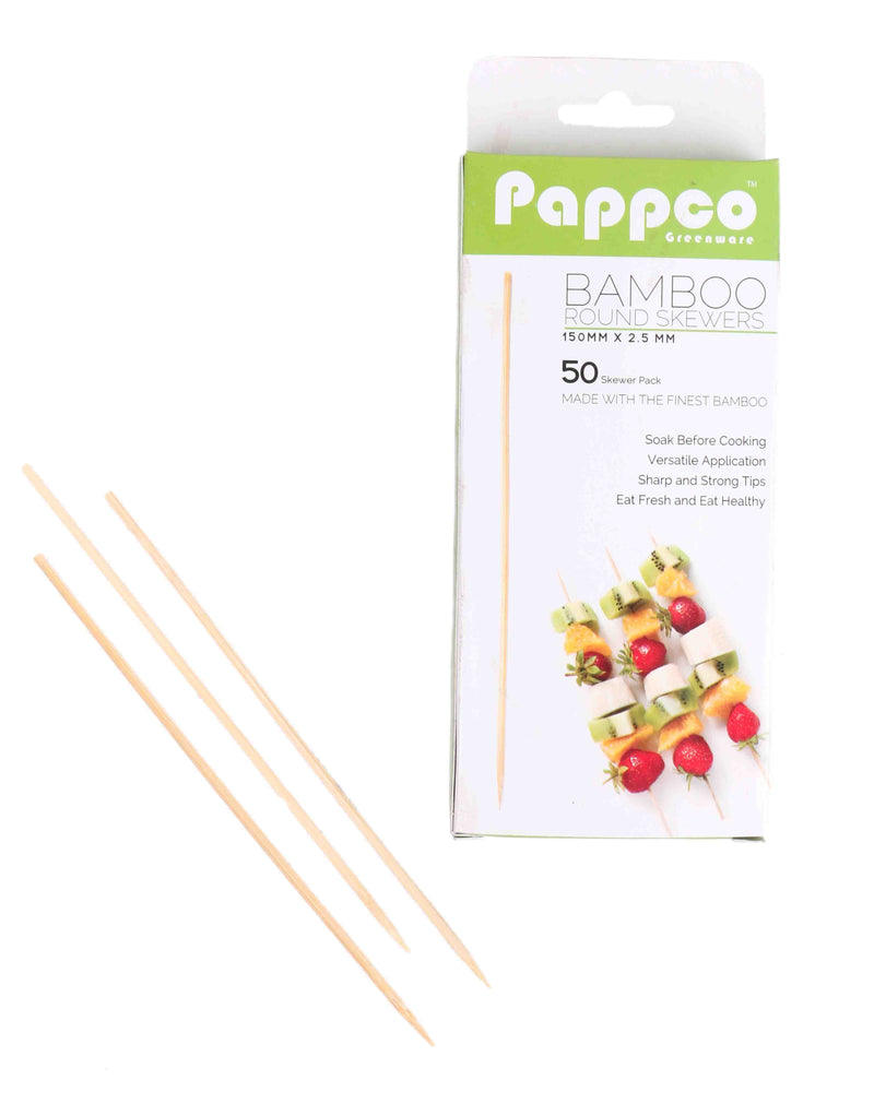 Pappco Greenware 6 Inch Medium Round Skewers (Pack Of 200)