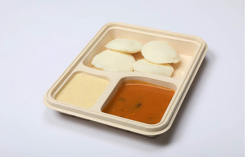 3 compartment container for food takeaway packaging