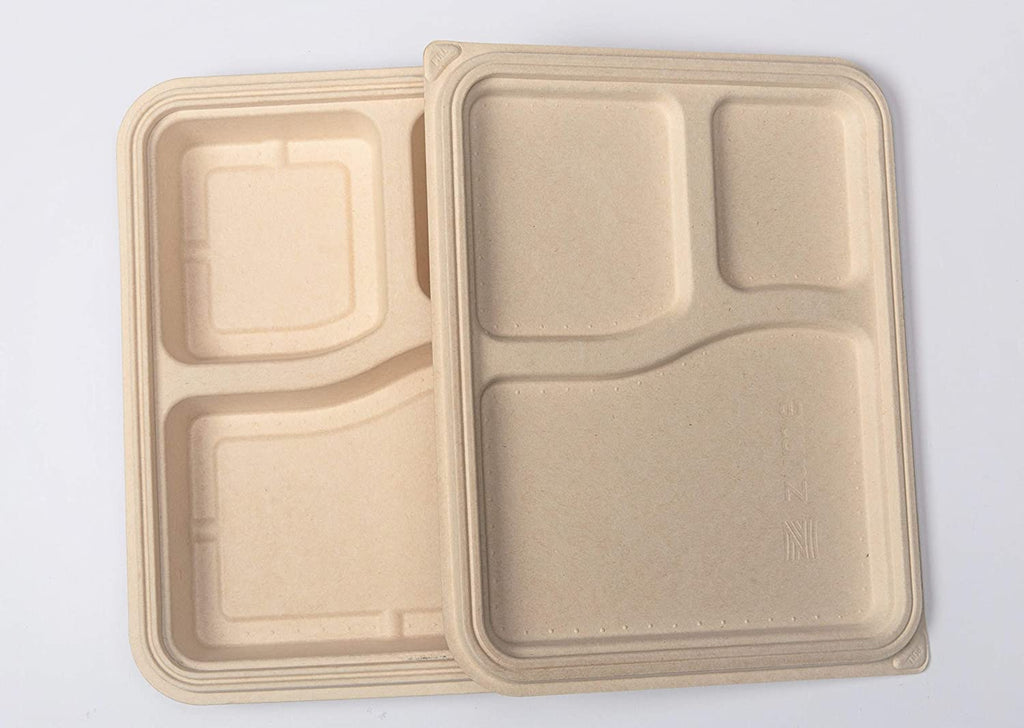 3 compartment disposable container for meal packing box made up of sugarcane bagasse