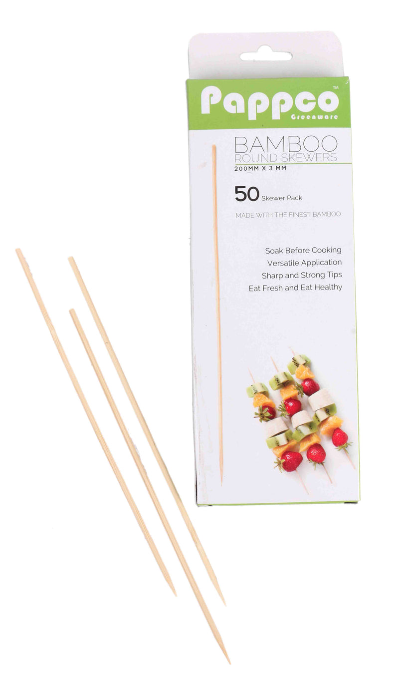Pappco Greenware 8 Inch Standard Round Skewers (Pack Of 200)