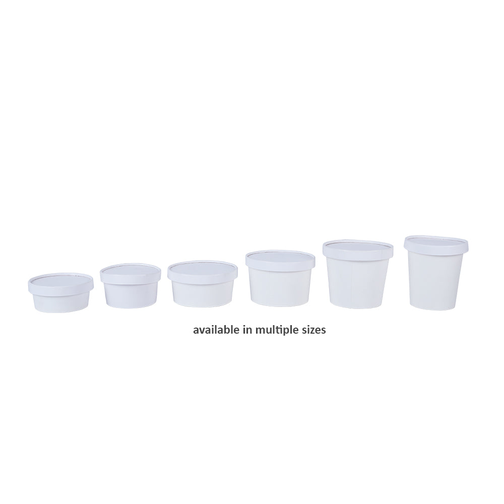 multiple sizes of paper tub containers