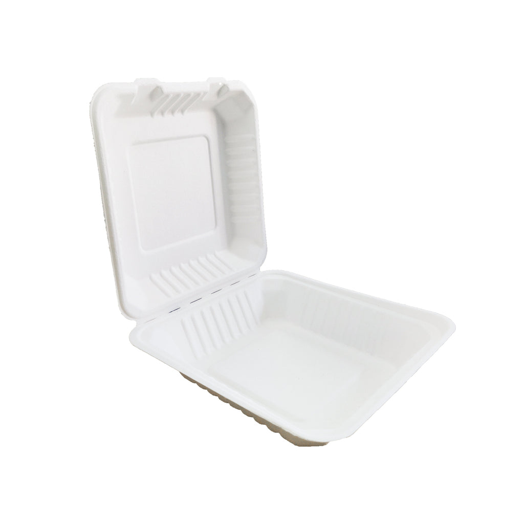 Biodegradable Single Compartment Clamshell Container made up of sugarcane bagasse material
