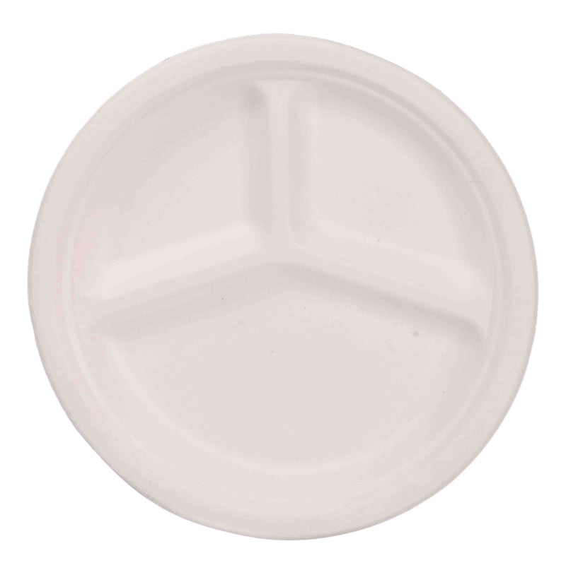 3 Compartment disposable plates