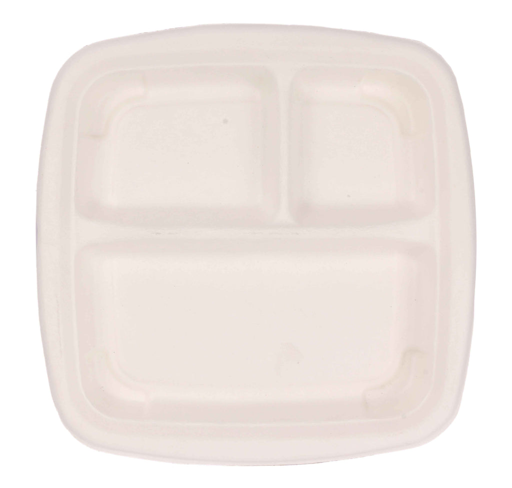 Pappco Greenware Three Way Mini Lunch Plate (Pack Of 50)