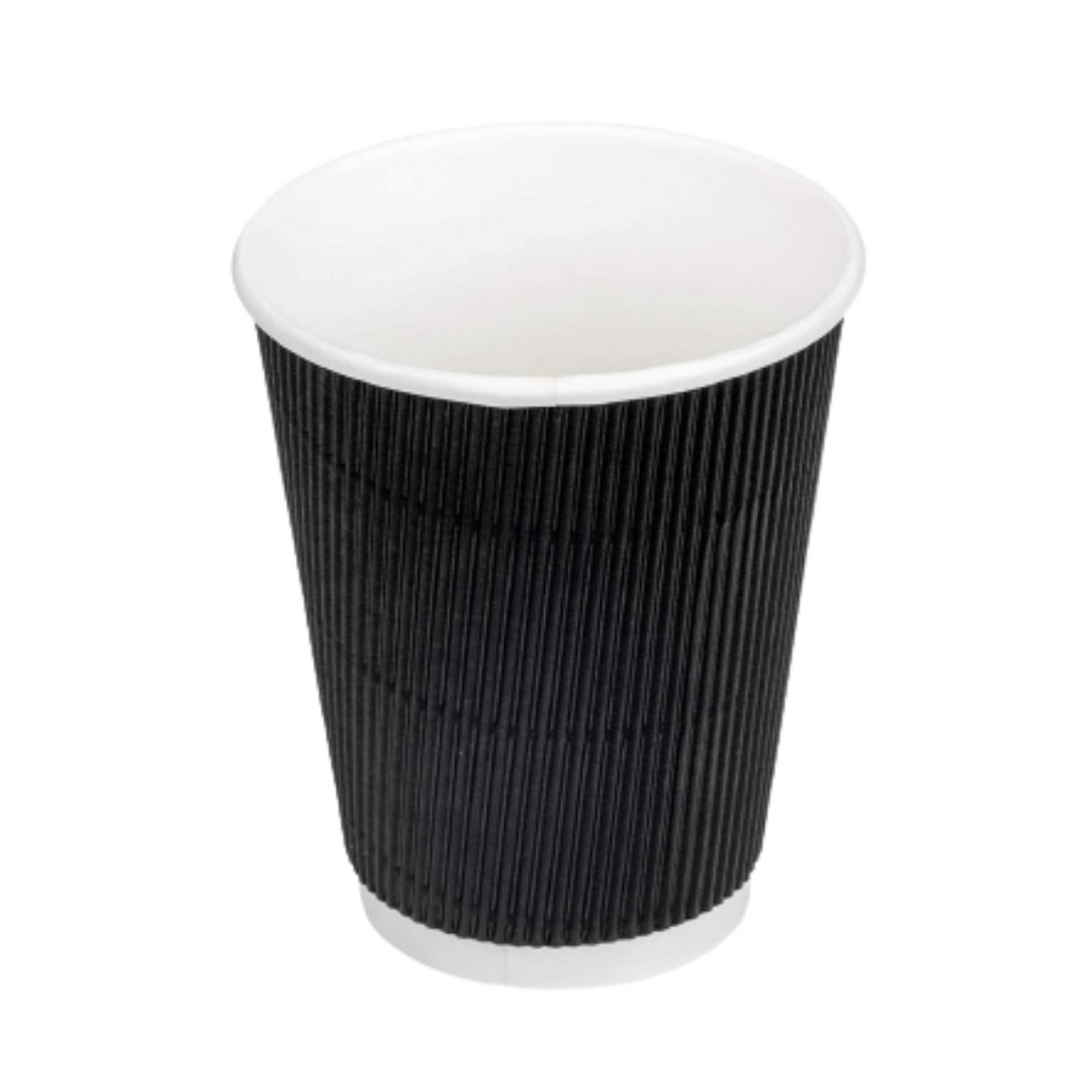 12oz/350ml Black Ripple Wall Cup or Disposable Coffee Cup