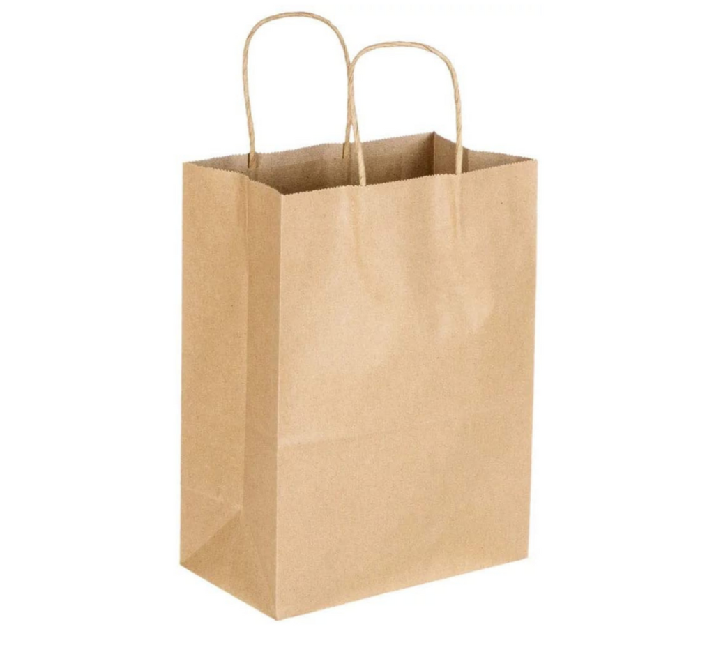 Ecofriendly, Disposable, Brown Kraft Paper Bag with Handle specially for coffee takeaway bag