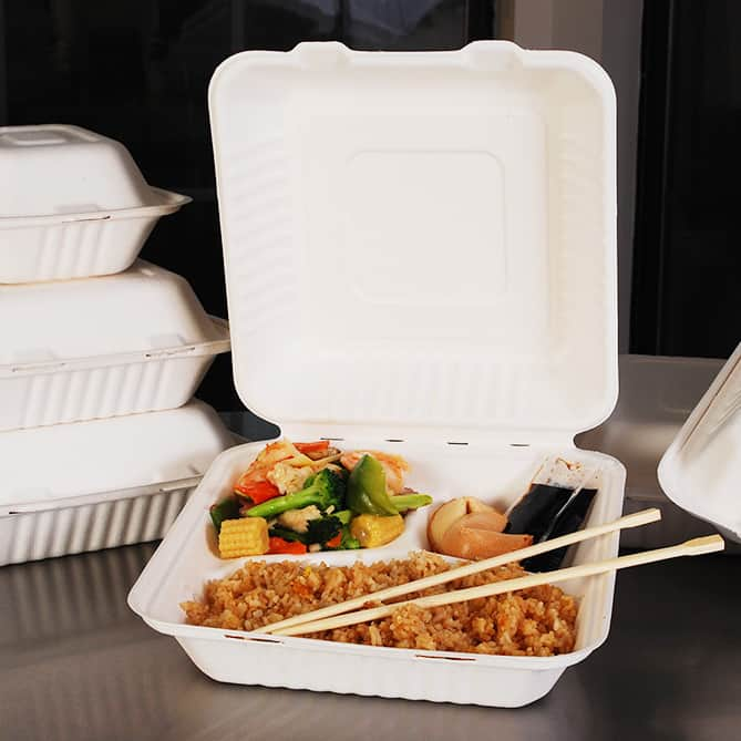 3 Compartment Container with Lid for food Takeaway & Delivery
