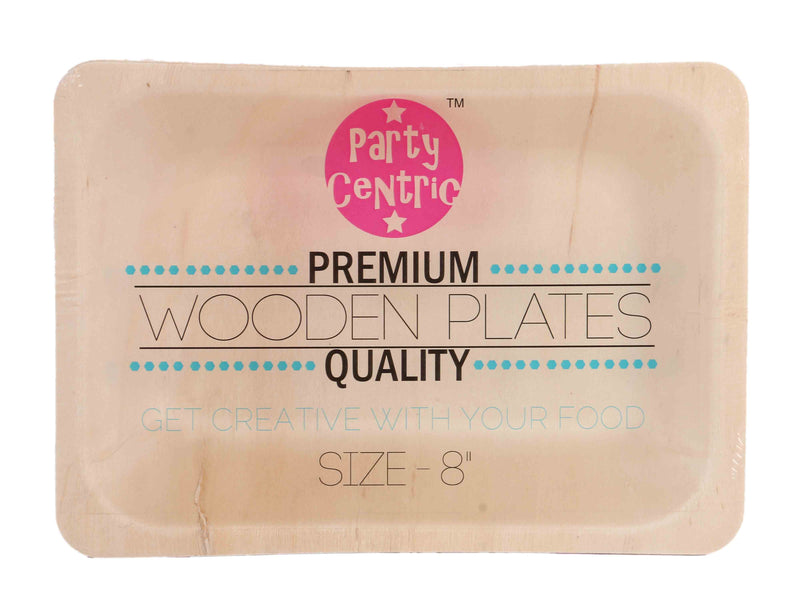 Party Centric 8 Inch Wooden Rectangle Tray (Pack Of 24)