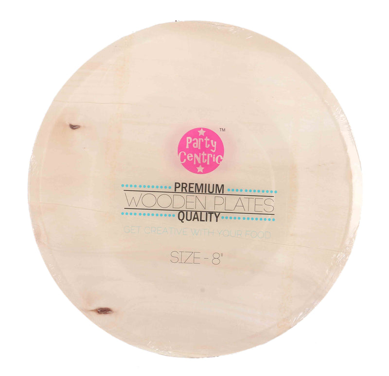 Party Centric 8 Inch Wooden Round Plate (Pack Of 500)