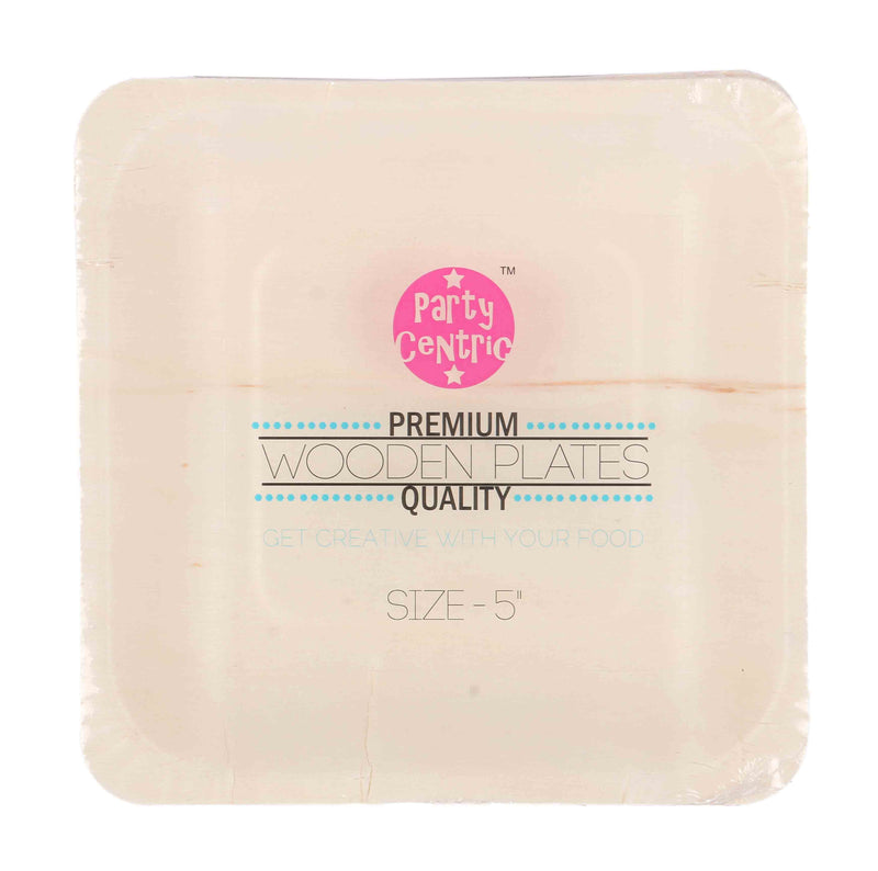 Party Centric 5 Inch Wooden Square Tray (Pack Of 500)
