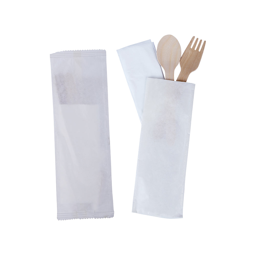 Wrapped Cutlery Set Contains Spoon, Fork & Tissue