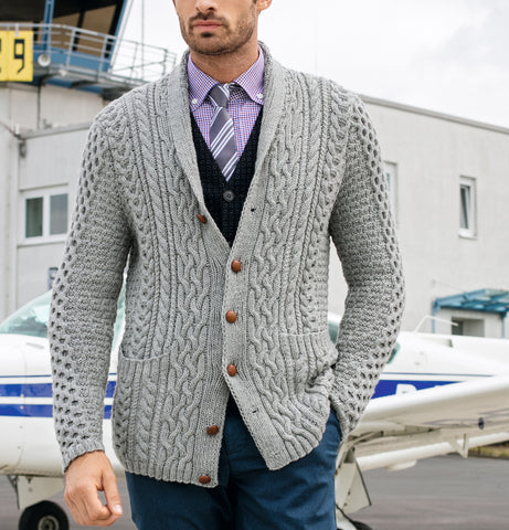 MENS HAND KNIT WOOL CARDIGAN 114A - KnitWearMasters