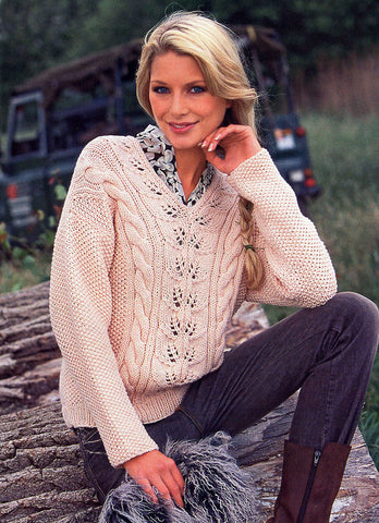 Women's Hand Knit V-neck Sweater 33J - KnitWearMasters
