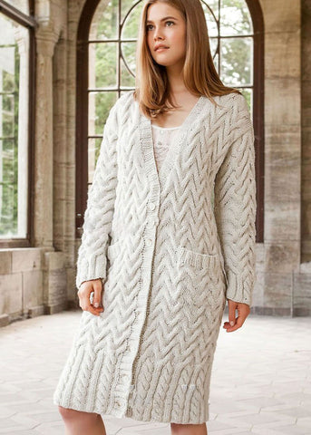 Women Hand Knitted Wool Cardigan 11D - KnitWearMasters