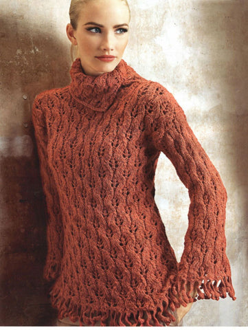 Womens Hand Knit Wool Turtleneck Sweater 69K - KnitWearMasters