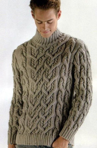 Men's Hand Knit Turtleneck Sweater 120B - KnitWearMasters