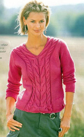 Women's Hand Knit V-neck Sweater 35J - KnitWearMasters